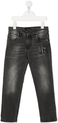 John Richmond Junior Straight Leg Rhinestone Logo Jeans