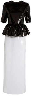 Huishan Zhang Jewel Sequin-Embellished Monochrome Dress