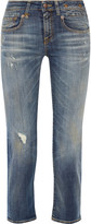 R 13 Boy Straight distressed mid-rise jeans