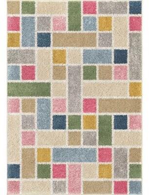 "Latitude Run Clarkdale Building Blocks Saffron/Ivory Area Rug Rug Size: Rectangle 5'3"" x 7'6"""