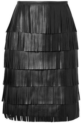 Michael Kors Tiered Fringed Leather Mini Skirt