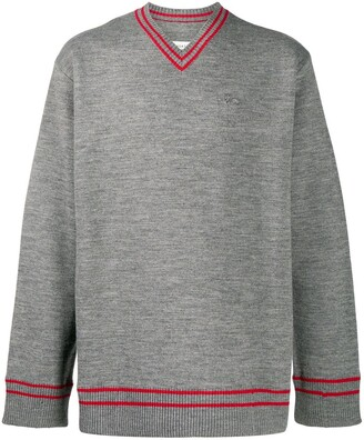 Maison Margiela V-neck stripe embellished jumper