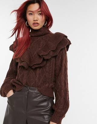 Y.A.S knitted jumper with ruffle detail and turtle neck in brown