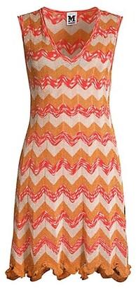 M Missoni Metallic Chevron Knit Dress