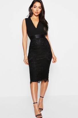 boohoo Chiffon & Lace Midi Dress