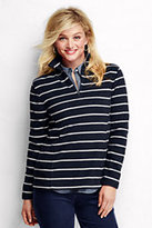 Classic Women's Petite Thermacheck 100 Fleece Half Zip-Ivory/Raspberry Wine Stripe