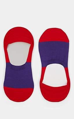 Barneys New York Men's Colorblocked Stretch-Cotton No-Show Socks - Red