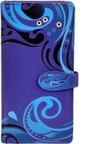 Shagwear Women's Large Zipper Wallet Wave Pattern Purple