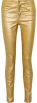 Etoile Isabel Marant Ellos High-Rise Metallic Coated Skinny Jeans
