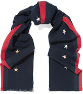 Gucci Striped Embroidered Wool, Cashmere And Silk-blend Scarf - Navy