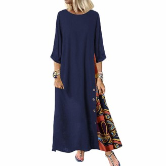 Annstar Womens Boho Printed Dress Crew Neck Loose Maxi Dress Button Contrast Color Autumn Long Skirt Casual Party Prom Gown Oversize M-5XL (Navy Blue XL)