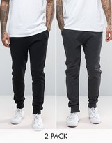 Asos Skinny Joggers In Charcoal Marl/black 2 Pack Save