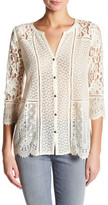 Lucky Brand Mixed Lace Modal Blouse