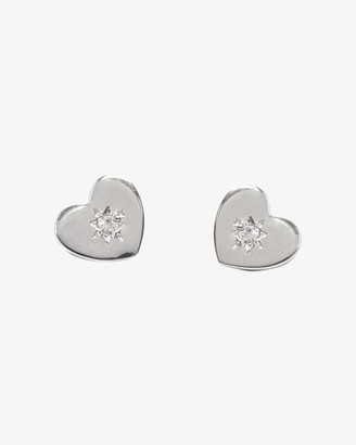 Jac + Jo White Sapphire Heart Stud Earrings