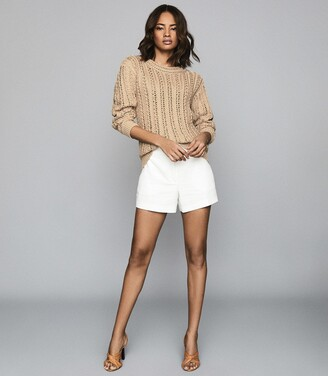 Reiss Silvie - Open-knit Cotton Jumper in Beige