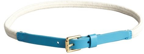 Vince Camuto malibu blue woven canvas and leather thin belt