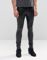 Asos Extreme Super Skinny Jeans In Faux Leather
