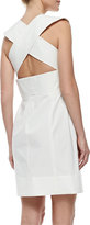 Derek Lam V-Neck Poplin Dress with Crisscross Back, White