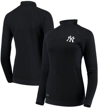 Women's Levelwear Navy New York Yankees Verse Asymmetrical Tri-Blend Quarter-Zip Jacket
