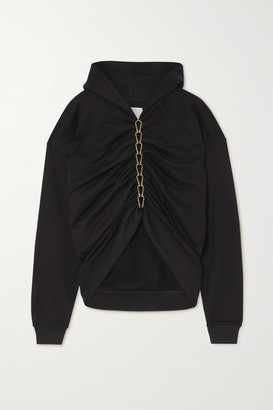 Dion Lee Chain-embellished Ruched Cotton-jersey Hoodie - Black
