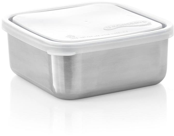 Crate & Barrel U Konserve ® Large Square Stainless-Steel Container with Clear Lid