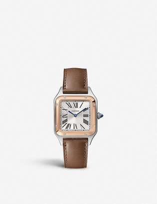 Cartier Santos Dumont 18ct rose-gold and leather watch