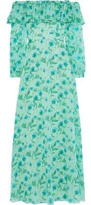 Mikael Aghal Off-the-shoulder Floral-print Fil Coupe Chiffon Maxi Dress