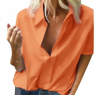 Kalorywee Women Tops KaloryWee White Shirt For Women Fitted Sexy Summer Casual Chiffon V-Neck Short Sleeve Loose Shirts Blouse Tops