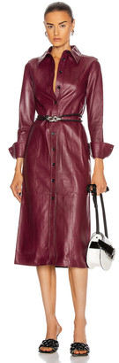 Proenza Schouler Leather Shirt Dress in Bordeaux | FWRD
