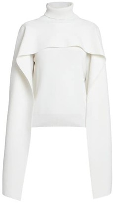 Givenchy Wool-Blend Turtleneck Cape Sweater