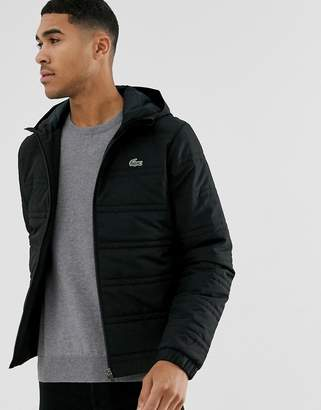 Lacoste Sport quilted hooded jacket in black