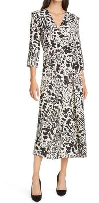 BA&SH Olga Faux Wrap Midi Dress