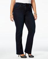 Melissa McCarthy Trendy Plus Size Faux-Leather-Trim Jeans