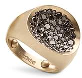 Antonini Matte 18K White Gold Matera Large Pave Black Diamond Ring