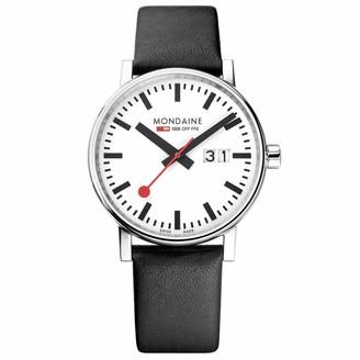 Mondaine Men's SBB Stainless Steel Swiss-Quartz Watch with Leather Calfskin Strap Black 20 (Model: MSE.40210.LB)