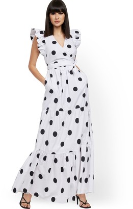 New York & Co. Dot-Print Ruffle-Sleeve Poplin Maxi Dress