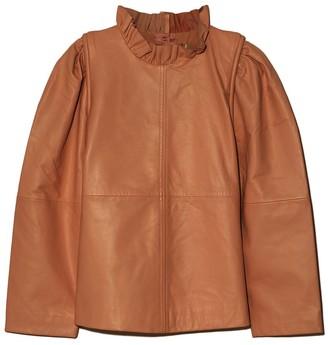 Sea Lora Leather Ruffle Neck Top in Caramel