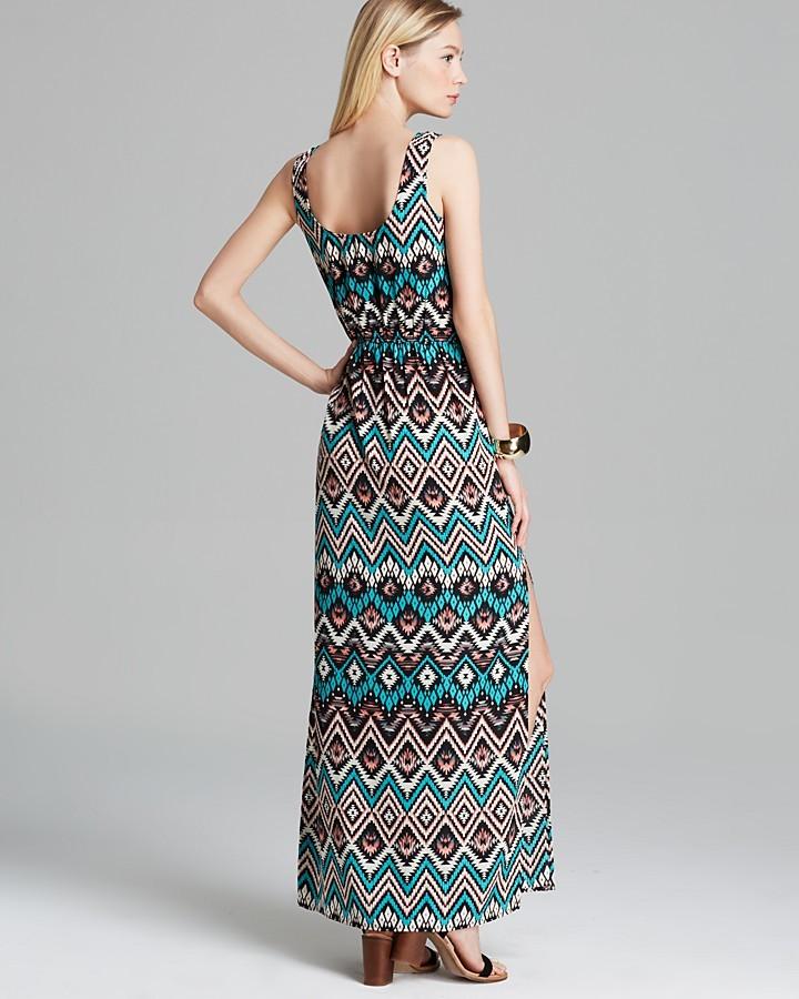 Aqua Maxi Dress - Crepe Blouson Tank Printed Side Slit
