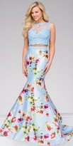 Jovani Two Piece Floral Illusion Mermaid Prom Dress