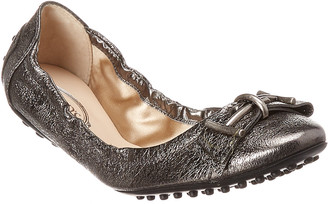 Tod's Gommino Double T Metallic Leather Ballerina Flat