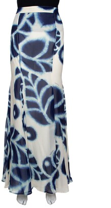 Roberto Cavalli Blue Tie Dye Printed Chiffon Maxi Skirt L