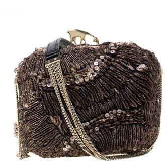 Bally Brown Sequins Embellished Clutch Bag