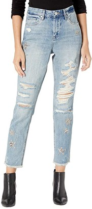 Blank NYC Snake Printed Star Patch Crop Girlfriend Jeans in Star Child (Star Child) Women's Jeans