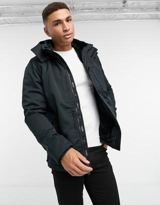 Hollister faux fur lined hooded parka coat in black