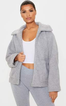 PrettyLittleThing Grey Borg Zip Up Oversized Jacket