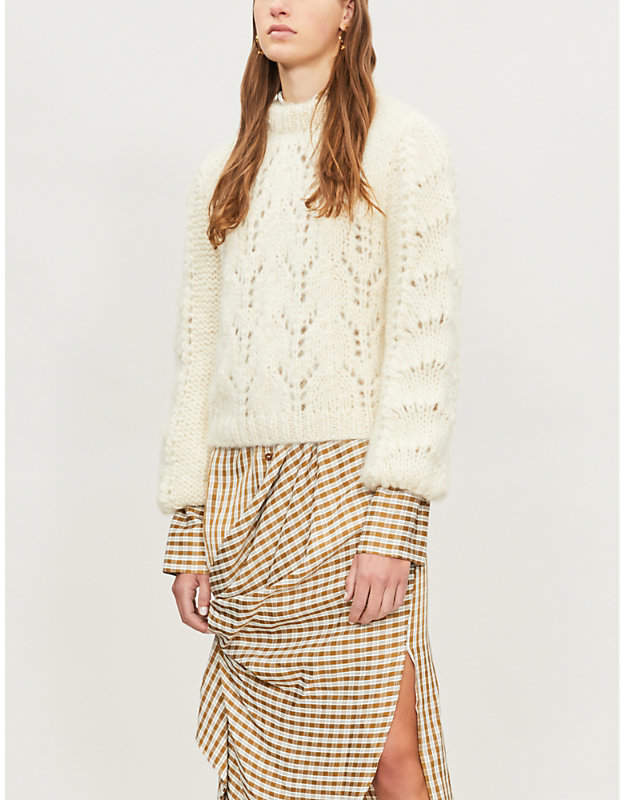 Ganni Julliard cable-knit mohair and wool-blend jumper