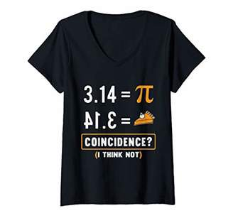 Pi Womens Day Equals Pie Coincidence I Think Not Math Teacher V-Neck T-Shirt