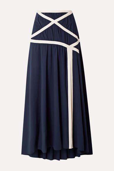 Rosie Assoulin Criss Cross Applesauce Cotton-crepe Maxi Skirt - Navy