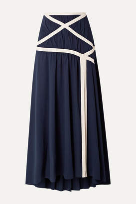 Rosie Assoulin Criss Cross Applesauce Cotton-crepe Maxi Skirt - Navy