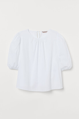 H&M H&M+ Puff-sleeve Cotton Blouse